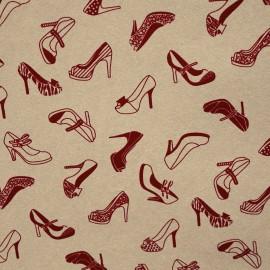 Papier fantaisie lin à motifs chaussures rouge