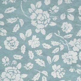 Papier népalais lokta bleu roses blanches