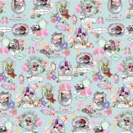 Papier italien motifs jolis portraits chiens et chats