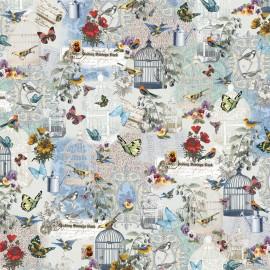 Papier italien motifs oiseaux et papillons