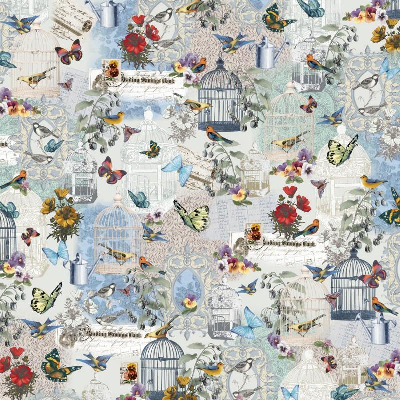 papier cartonnage papier italien motifs oiseaux papillons. Black Bedroom Furniture Sets. Home Design Ideas