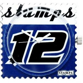 Montre Stamps cadran de montre blue champ urban