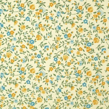 Papier italien motifs semis de fleurs liberty jaune et bleu
