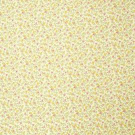 Papier italien motifs semis de fleurs liberty jaune et rose