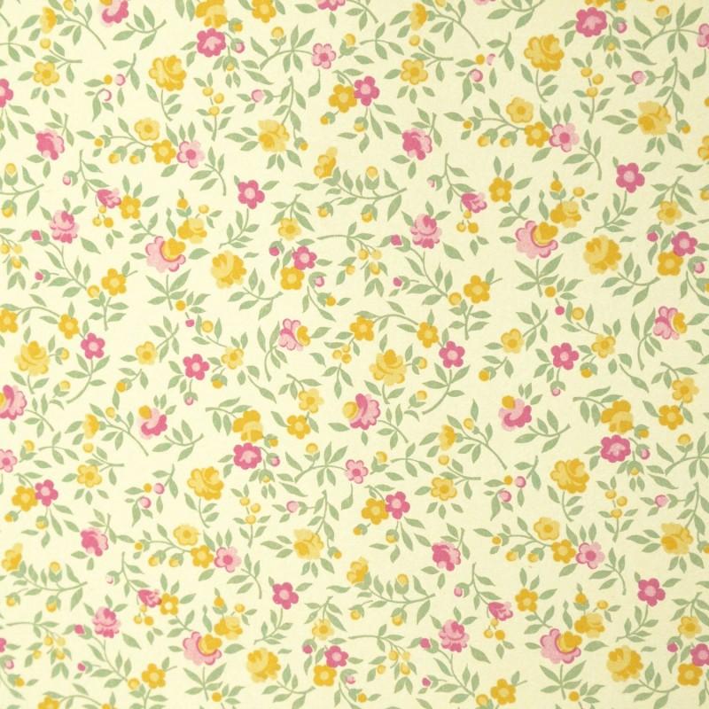 papier cartonnage papier italien motifs semis fleurs liberty jaune rose. Black Bedroom Furniture Sets. Home Design Ideas