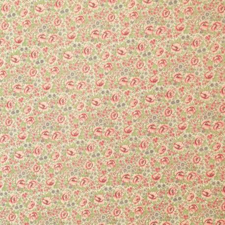 Papier italien motifs de fleurs rose feuillage vert