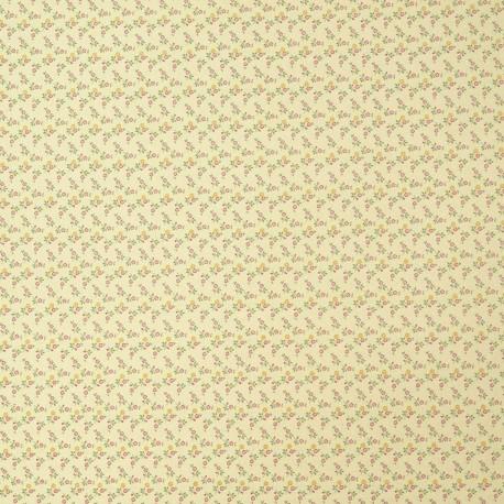 Papier italien motifs semis de fleurs liberty fushia et jaune