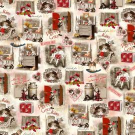 Papier italien motifs vintage enfants