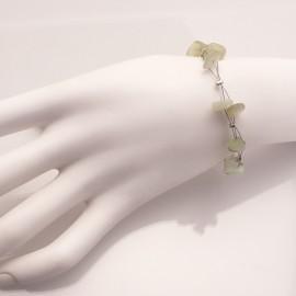 Bracelet fantaisie vert sur cable -