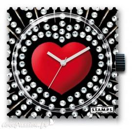 Montre Stamps cadran de montre red heart