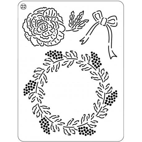Pergamano mini grille embossage ciselage 21 rose de noël 71022