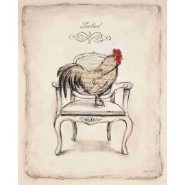 Reproduction déco maison coq sur son siège Emily Adams