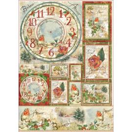 Papier de découpage Stampéria vintage horloge fleur et poemes