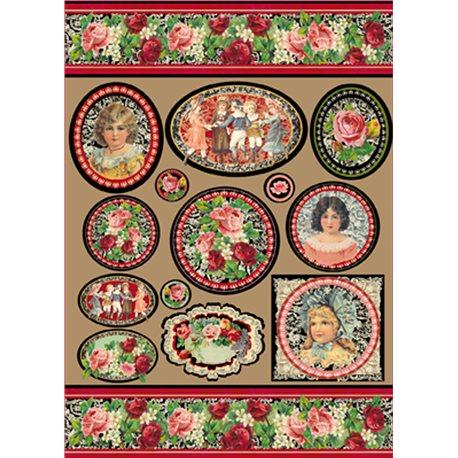 Papier de découpage Stampéria vintage petites filles aux roses