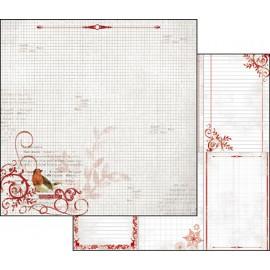 Papier scrapbooking réversible noel étiquettes rouges