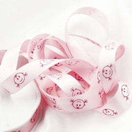 Ruban bébé satin fille rose layette 16mm