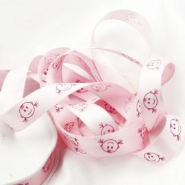 Ruban bébé satin fille rose layette 16mm