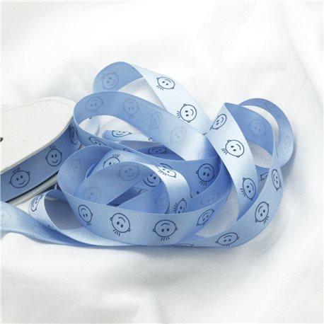 Ruban bébé satin gars bleu ciel 16 mm