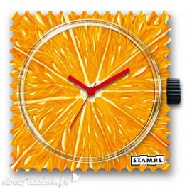 Montre Stamps cadran de montre orange