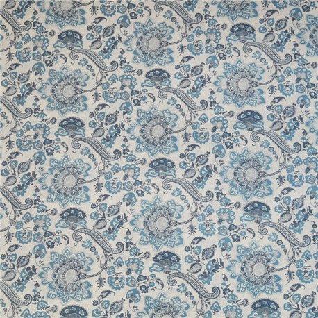 Papier tassotti motifs fleurs bassano bleu  50x70cm