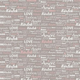 Feuilles décopatch fond taupe écriture love amour blanc et rose