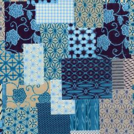 Feuilles décopatch patchwork bleu et turquoise