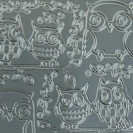 Sticker peel off adhésif argent chouette et hibou