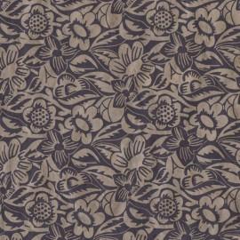 Papier népalais lokta noir motifs fleurs frida taupe