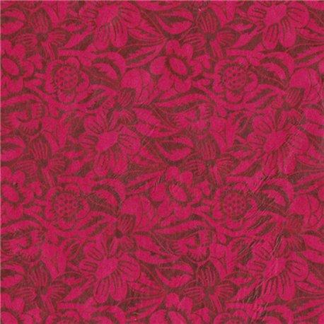 Papier népalais lokta bordeaux motifs fleurs frida fuchsia