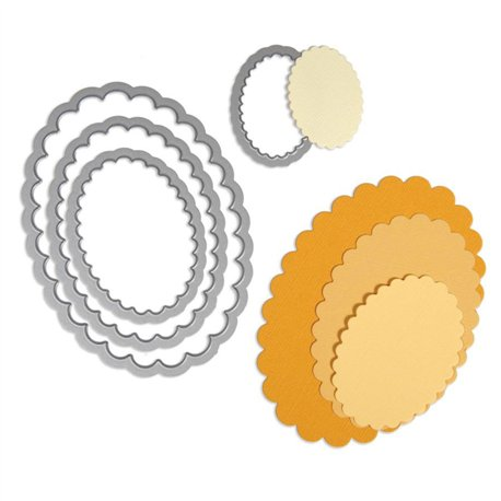 Dies de découpe matrice Sizzix cadres ovale dentelé 4 dies