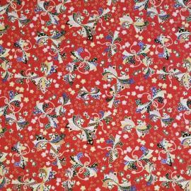 Papier japonais noeud multicolores fond rouge
