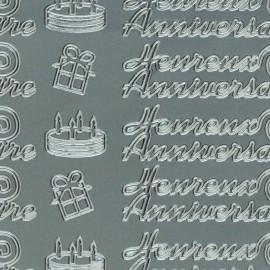 Sticker peel off adhésif argent joyeux anniversaire
