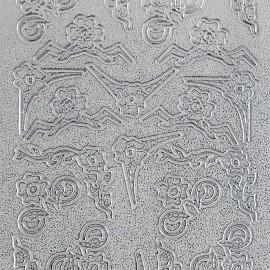 Sticker peel off adhésif argent coin fleurs