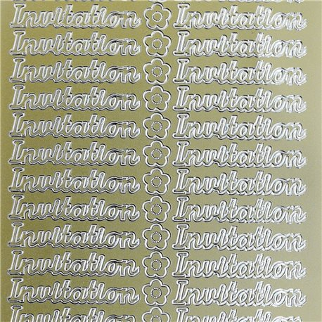 Sticker peel off adhésif or invitation