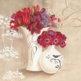 Carte d'art pots de fleurs rouges