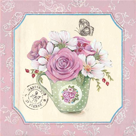 Carte d'art Shabby chic les roses dans la tasse