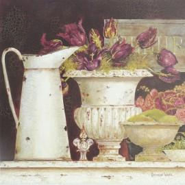 Carte d'art masion shabby chic cruche et pot fleurs