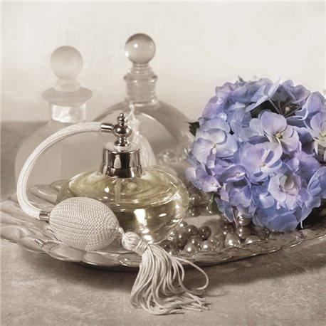 Carte d'art shabby chic parfum et hortensia