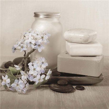 Carte d'art shabby chic savon et fleurs d'aubépine