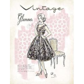 Carte d'art femme vintage glamour