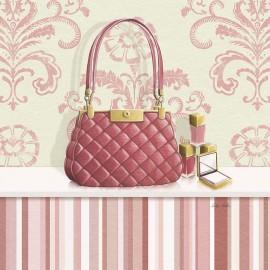 Carte d'art sac de femme rose matelassé