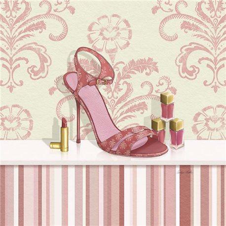 Carte d'art chaussure de femme rose