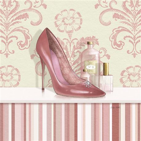 Carte d'art escarpin de femme rose
