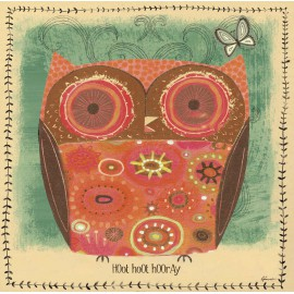 Carte d'art hibou rouge orangé