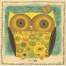 Carte d'art hibou jaune ocre