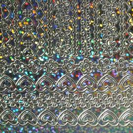 Sticker peel off adhésif argent holographique lignes déco fleur coeur chaine