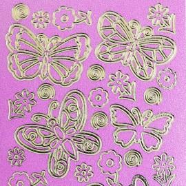 Sticker peel off adhésif or et violet papillons