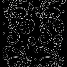 Sticker peel off adhésif noir arabesque de fleurs