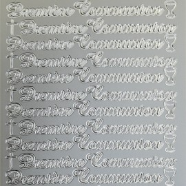 Sticker peel off adhésif argent écriture 1ère communion
