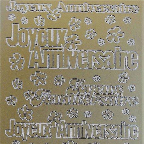 Sticker peel off adhésif or écriture joyeux anniversaire